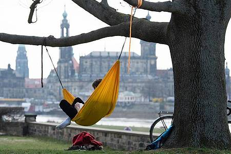 Ein Mann hat es sich am Ufer der Elbe vor der Kulisse der Dresdner Altstadt in einer Hängematte gemütlich gemacht. Foto: Sebastian Kahnert/dpa-Zentralbild/dpa
