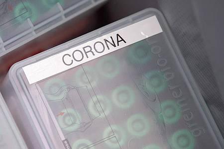 """""""Corona"""" steht im Testcenter am Stuttgarter Flughafen auf einer Dose mit durchgeführten Tests, die in ein Labor geschickt werden. Foto: Sebastian Gollnow/dpa"""