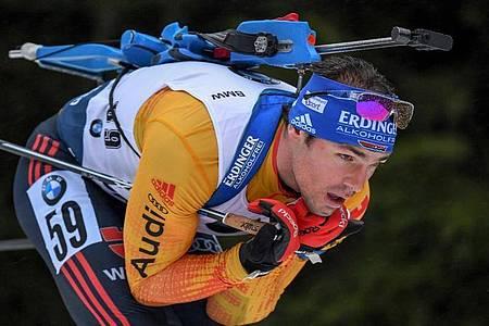 Ist mit Deutschlands Biathleten in Kontiolahti im Einsatz: Simon Schempp. Foto: Hendrik Schmidt/dpa-Zentralbild/dpa
