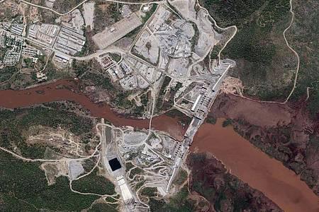 Ein Satellitenbild zeigt den Staudamm am Blauen Nil. Foto: -/Maxar Technologies/AP/dpa