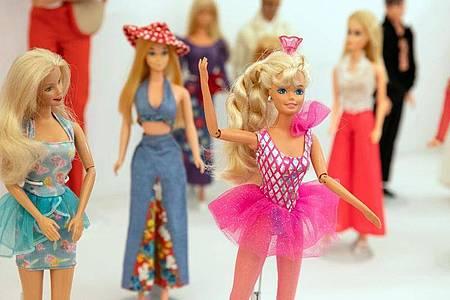 Schön bunt: Verschiedene Barbie-Puppen in der Sonderausstellung «Busy girl - Barbie macht Karriere» im Schloss Bruchsal. Foto: Christoph Schmidt/dpa