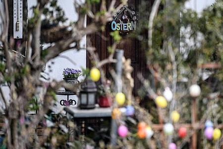 Ostereier in einem Garten. Foto: Britta Pedersen/dpa-Zentralbild/dpa
