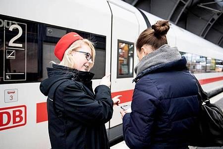 In welchem Abschnitt ist der reservierte Sitzplatz? Sarah Thieme, angehende Kauffrau für Verkehrsservice bei der Deutschen Bahn, gibt den Reisenden am Bahnsteig Auskunft. Foto: Zacharie Scheurer/dpa-tmn