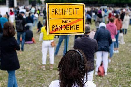 """""""Freiheit/Fake-Pandemie"""": Eine Teilnehmerin einer Demonstration in München. Foto: Sven Hoppe/dpa"""