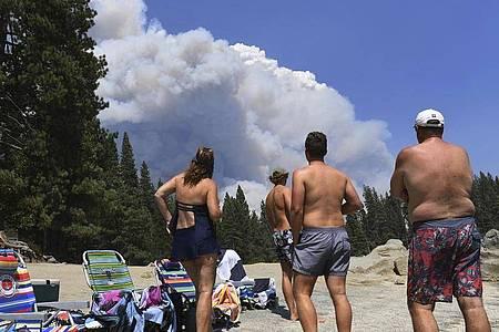 Eine Familie beobachtet vom Ufer des Shaver Lake aus den aufsteigenden Rauch eines Waldbrandes. Drei Wochen nach dem Ausbruch zahlreicher Waldbrände in Kalifornien kämpft die Feuerwehr dort weiter gegen die Flammen. Foto: Eric Paul Zamora/The Fresno Bee/AP/dpa