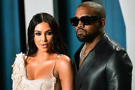 Kim Kardashian und Kanye West im Februar 2020 bei der Oscar-Party von Vanity Fair. Foto: Ian West/PA Wire/dpa