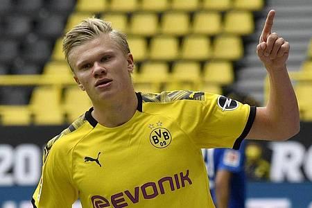 Traut Borussia Dortmund die Meisterschaft zu: Torjäger Erling Haaland. Foto: Martin Meissner/AP-Pool/dpa