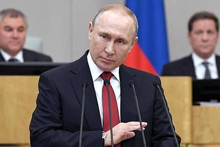 Russlands Präsident Wladimir Putin vor der Abstimmung über Verfassungsänderungen in der Staatsduma. Foto: Alexei Nikolsky/Pool Sputnik Kremlin/AP/dpa