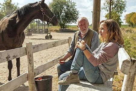 Paul Brenner (Dieter Hallervorden) gibt Jana (Lena Klenke) die Chance, mit dem Pferd Rock zu arbeiten. Foto: Neue Schönhauser Filmproduktion/ARD/Degeto/dpa