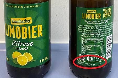 Die Krombacher Brauerei ruft das Produkt «Limobier Zitrone naturtrüb» zurück. Betroffen sind Getränke, die 27.05.20 sowie am 16./17.06.20 abgefüllt wurden. Foto: lebensmittelwarnung.de/dpa-infocom