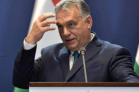 Ungarns Regierungschef Viktor Orban während einer Pressekonferenz in Budapest. Foto: -/Kremlin/dpa