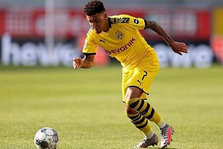 Bekam eine Geldstrafe der DFL: Jadon Sancho von Borussia Dortmund. Foto: Lars Baron/Getty Images Europe/Pool/dpa