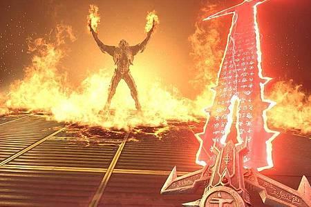 Schwert gegen brennende Hände:«DoomEternal» konfrontiert Spieler mit endlosen Dämonenhorden. Foto: Bethesda/dpa-tmn