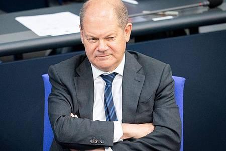 Bundesfinanzminister Olaf Scholz während einer Debatte im Bundestag. Foto: Kay Nietfeld/dpa