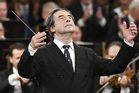 Riccardo Muti beim Neujahrskonzert 2018 der Wiener Philharmoniker. Foto: Hans Punz/APA/dpa