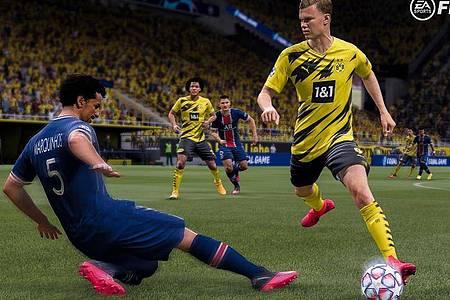 Wer virtuell mit aktuellen Stars wie Erling Haaland kicken will, kommt um «Fifa 21» fast nicht herum. Foto: Electronic Arts/dpa-tmn