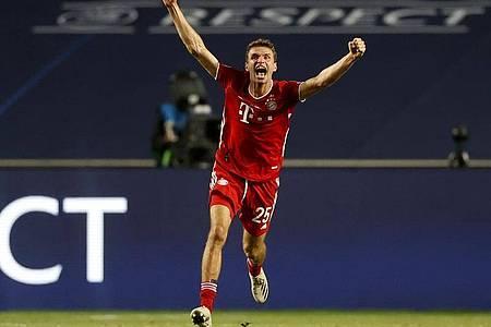 Thomas Müller gewann mit dem FC Bayern zum zweiten Mal die Champions League. Foto: Matthew Childs/Pool Reuters/AP/dpa