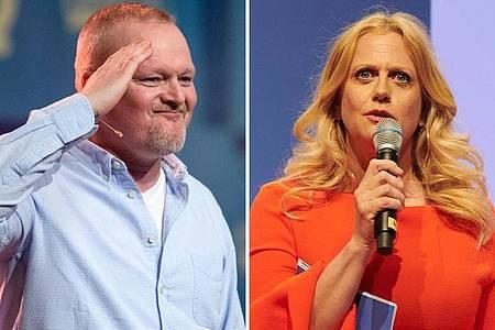 Stefan Raab (l.) und die Barbara Schöneberger konkurrieren um die Gunsst der Zuschauer. Foto: Matthias Balk/Annette Riedl/dpa