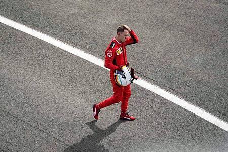 Fuhr auch in Silverstone im Ferrari hinterher: Sebastian Vettel. Foto: Will Oliver/PoolEPA/AP/dpa
