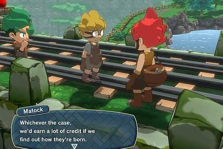 Kleine Leute ganz groß: Die Hauptfiguren von «Little Town Hero» sind der rothaarige Axe und seine Freunde. Foto: Nintendo/dpa-tmn