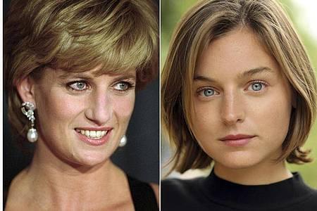 Lady Diana (l)und die Schauspielerin Emma Corrin (r). Foto: Faye Thomas/Netflix/AP/dpa