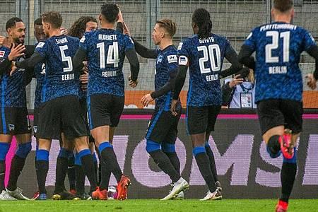 Hertha BSC überzeugte und funktionierte 90 Minuten als Kollektiv. Foto: Stefan Puchner/dpa-Pool/dpa