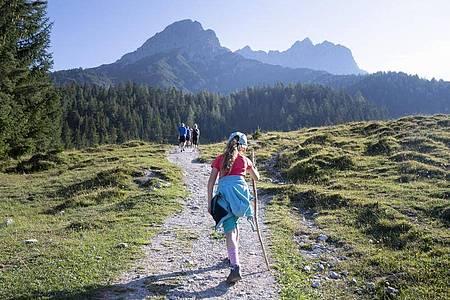 Ein Bergtour mit Schulkind sollte nicht länger als fünf Stunden dauern. Dabei sollten Eltern häufig Pausen einlegen. Foto: Florian Schuh/dpa-tmn