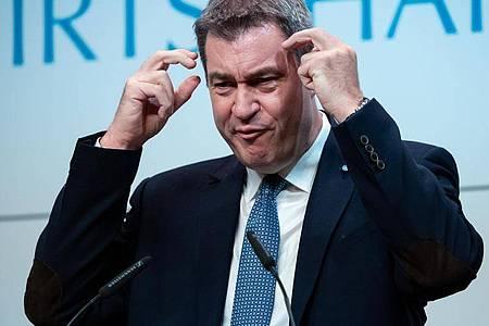 Für Steuersenkungen:Der bayerische Ministerpräsident Markus Söder (CSU) im Wirtschaftsbeirat der Union. Foto: Sven Hoppe/dpa