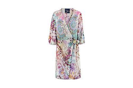 Ausgefallen und fröhlich-farbig: Viele Muster dieser Saison sind ein Hingucker- wie zum Beispiel das Kleid von Anni Carlssen (ca. 480 Euro). Foto: Anni Carlssen/dpa-tmn