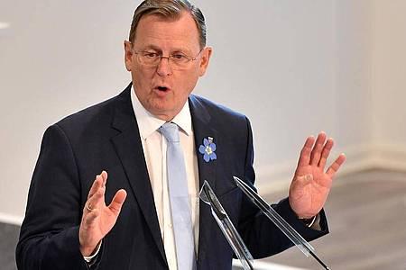 Thüringens Ministerpräsident Bodo Ramelow spricht in Erfurt. Foto: Martin Schutt/dpa-Zentralbild/dpa