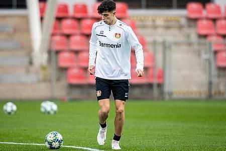 Noch trainiert Kai Havertz weiter bei Bayer Leverkusen. Foto: Marcel Kusch/dpa