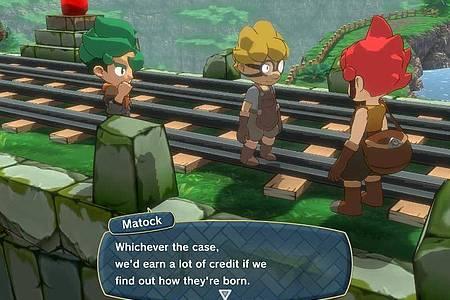 Die Hauptfiguren von «Little Town Hero» sind der rothaarige Axe und seine Freunde. Foto: Nintendo/dpa-tmn