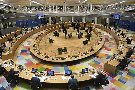 Der EU-Gipfel hat neue Belarus-Sanktionen und Androhungen gegen die Türkei beschlossen. Foto: Johanna Geron/Reuters Pool via AP/dpa