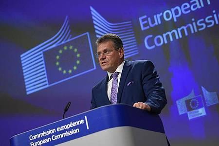 Laut EU-Kommissionsvizepräsident Maros Sefcovic werde die EU ihr Möglichstes tun, um einen Deal mit London zu erreichen. Foto: John Thys/AFP Pool/AP/dpa