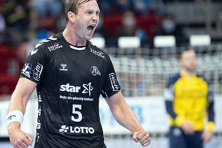 Mit sieben Treffern Kiels Top-Werfer der Partie: Sander Sagosen. Foto: Federico Gambarini/dpa