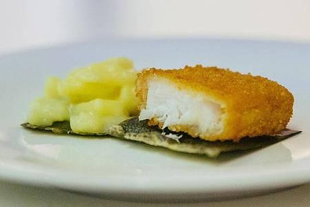 Lebensmitteltechnologen arbeiten an einer essbaren Snackverpackung. In den Behälter aus Algen kommen etwa Kartoffelsalat und Fischstäbchen. Foto: --/Nordsee/dpa