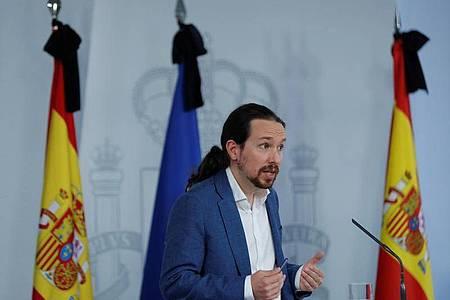 Pablo Iglesias vom Linksbündnis Unidas Podemos bei einer Pressekonferenz zum Grundeinkommen. Foto: Pool/EUROPA PRESS/dpa