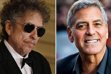 Bob Dylan (l) und George Cloone arbeiten als Produzenten zusammen. Foto: Fang Zhe/Nathan Denette/Xinhua/Zuma Press/The Canadian Press/AP/dpa