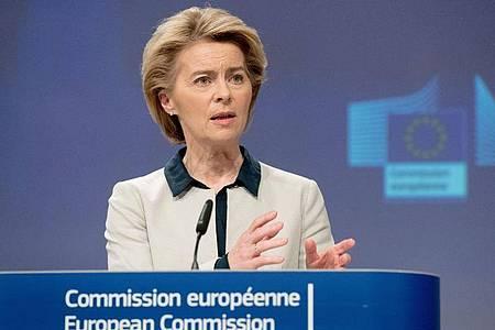 EU-Kommissionspräsidentin Ursula von der Leyen hat sich für einen europäischen «Marshall-Plan» nach historischem Vorbild ausgesprochen. Foto: Etienne Ansotte/Europäische Kommission/dpa