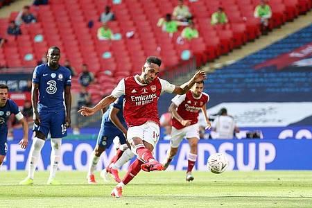 Pierre-Emerick Aubameyang (M) schoss den FC Arsenal zum FA-Cup-Sieg. Foto: Catherine Ivill/PA Wire/dpa