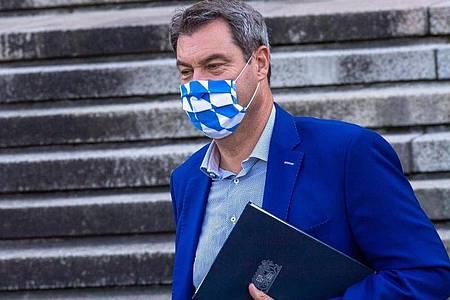 Kann sich Fußball mit Fans noch nicht wirklich vorstellen: BayernsMinisterpräsident Markus Söder. Foto: Peter Kneffel/dpa/POOL/dpa