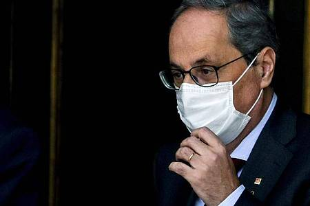 Muss das Amt des regionalen Ministerpräsidenten an seinen bisherigen Vize, Pere Aragonés, abtreten: Quim Torra. Foto: Manu Fernandez/AP/dpa