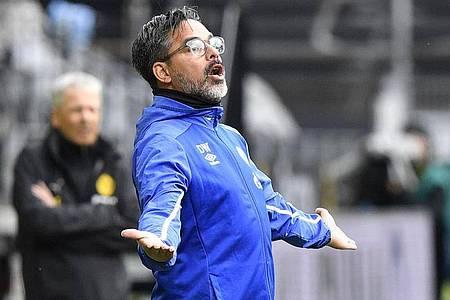 Hat eine Job-Garantie bekommen: Schalke-Trainer David Wagner. Foto: Martin Meissner/AP-Pool/dpa