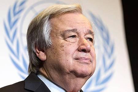 UN-GeneralsekretärAntonio Guterres. Foto: Cyril Zingaro/KEYSTONE/dpa