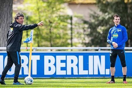 Bruno Labbadia (l) setzt im Derby auf Vladimir Darida. Foto: Jan-Philipp Burmann/Hertha BSC via City-Press GmbH/dpa