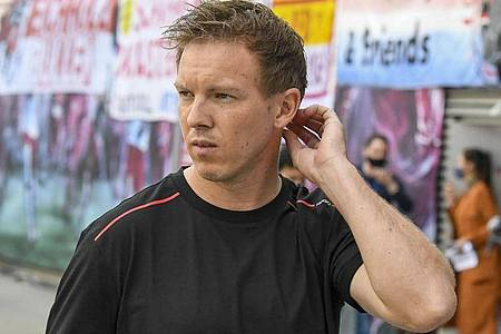 Erwartet ein Geduldsspiel gegen Atletico Madrid: Trainer Julian Nagelsmann von RB Leipzig. Foto: Jens Meyer/AP-Pool/dpa