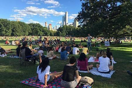 Eine vom Club «Stand Up NY» organisierte Veranstaltung im Central Park in New York. Foto: Christina Horsten/dpa