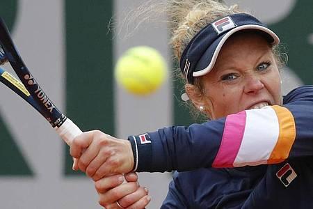 Will das Halbfinale der French Open erreichen: Laura Siegemund in Aktion. Foto: Christophe Ena/AP/dpa
