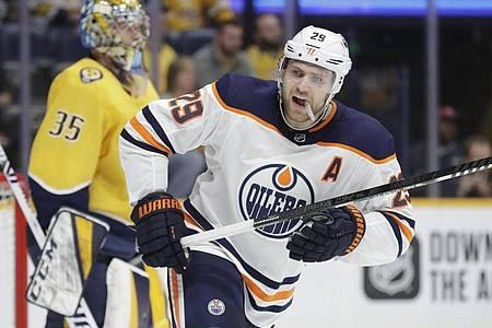 Spielt eine bis dato herausragende NHL-Saison: Leon Draisaitl. Foto: Mark Humphrey/AP/dpa