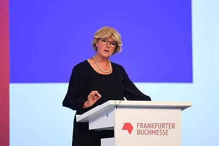 Kulturstaatsministerin Monika Grütters bei der Eröffnungsfeier der Frankfurter Buchmesse. Foto: Arne Dedert/dpa/POOL/dpa